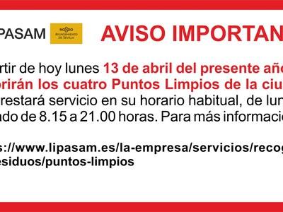 "LIPASAM: AVISO IMPORTANTE ""REAPERTURA PUNTOS LIMPIOS"""